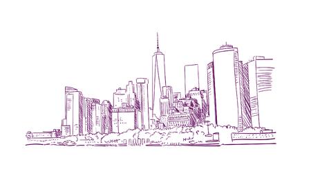ilustración de línea de boceto de la ciudad de nueva york