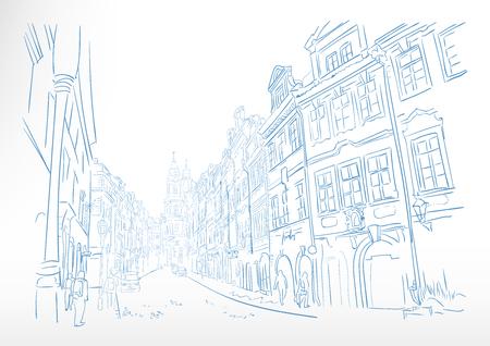 traveling European street Prague sketch vector