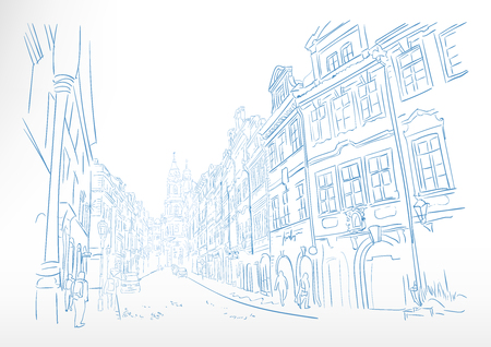 traveling European street Prague sketch vector