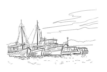 Croquis de vecteur illustration croisière de vacances des navires de la Croatie européenne Vecteurs