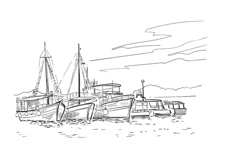 Ilustración de esbozo de vector de cruceros de vacaciones de barcos de Croacia europea Ilustración de vector