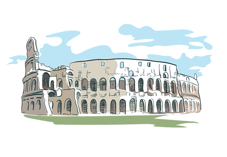 Rome Coliseum vector illustration watercolor line