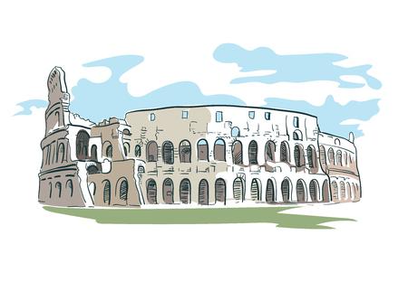 Rome Coliseum vector illustration watercolor line
