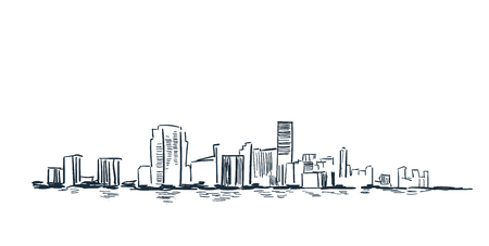 Miami city usa vector sketch landscape line illustration
