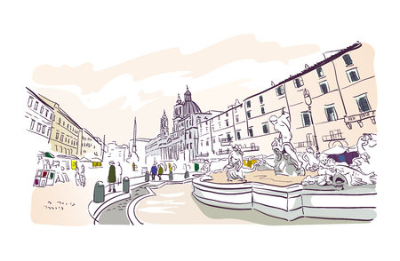 Piazza Navona Rome vector illustration Europe tourism