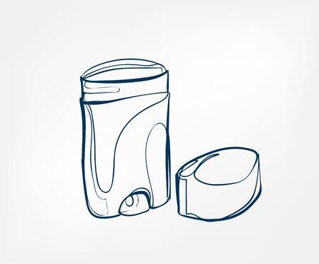 deodorant line art sketch outline isolated design element cosmetics