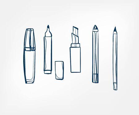 cosmetic pencil line vector clip art 向量圖像