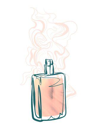perfume line art sketch outline isolated design element cosmetics Ilustración de vector