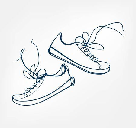 sneakers one line vector design element