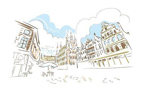 Leuven Belgium Europe vector sketch city illustration