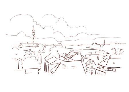 Leuven Belgium Europe vector sketch city illustration line