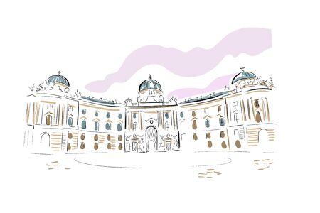 Austria Vienna Europe vector sketch city illustration line