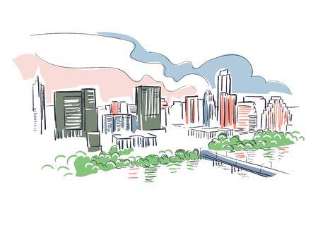 Austin Texas usa America vector sketch city illustration Vector Illustration