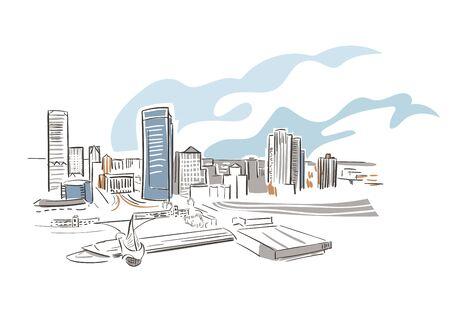 Milwaukee Wisconsin usa America vector sketch city illustration line