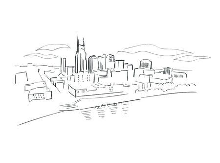 Nashville Tennessee usa America vector sketch city illustration
