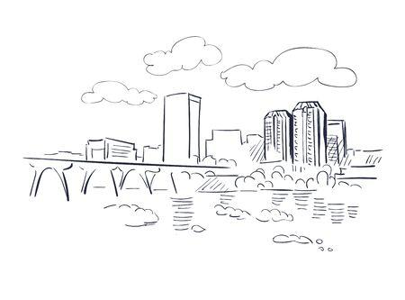 Richmond Virginia usa America vector sketch city illustration