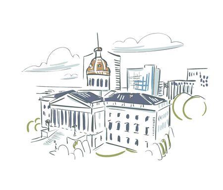 Columbia South Carolina usa America vector sketch city illustration