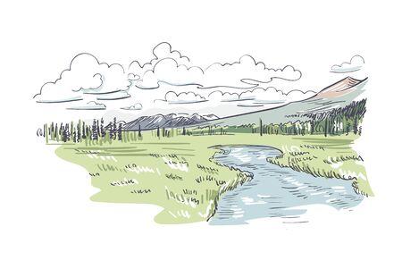 Denali national park vector sketch illustration