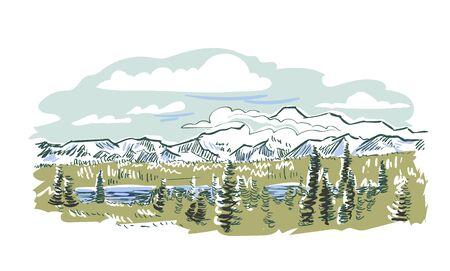 Denali national park vector sketch illustration usa