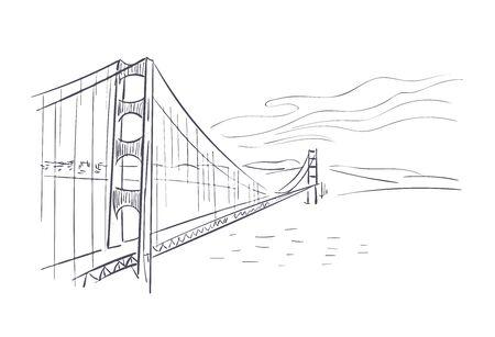 Golden Gate bridge usa America vector sketch city illustration