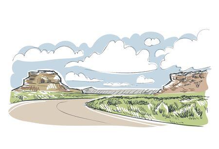 New Mexico Chaco kanion vector sketch illustration usa