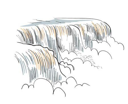 Niagara falls vector sketch illustration usa