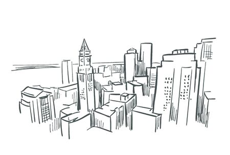 Boston Massachusetts usa America vector sketch city illustration 向量圖像