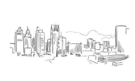 Detroit Michigan usa America vector sketch city illustration Illustration
