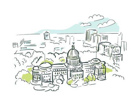 Jackson Mississipi usa America vector sketch city illustration