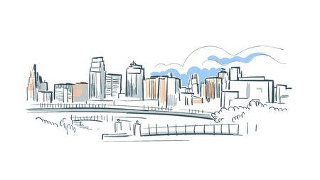 Kansas city Missouri usa America vector sketch city illustration