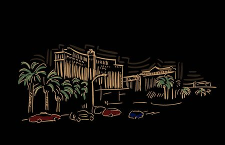 Las Vegas Nevada usa America vector sketch city illustration