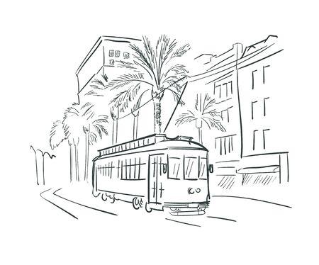 New Orleans Louisiana usa America vector sketch city illustration Ilustracje wektorowe