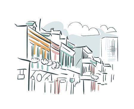New Orleans Louisiana usa America vector sketch city illustration Vecteurs