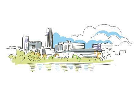 Omaha Nebraska usa America vector sketch city illustration
