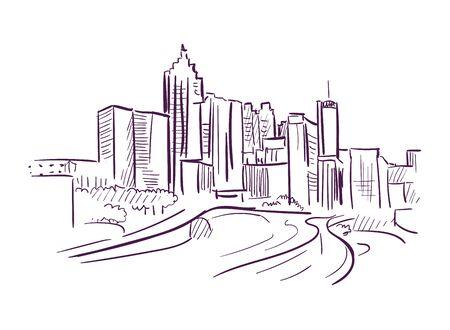 Birmingham Alabama vector sketch line usa landscape