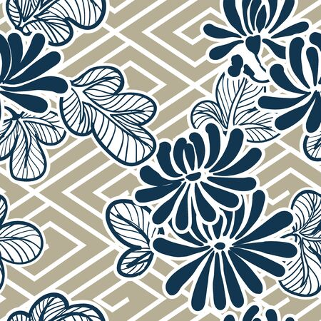 japanese vector flower pattern seamles traditional