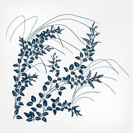 lespedeza japanese paint style design sketch design element