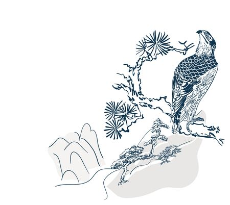 falcon hawk bird mountains view card vector sketch illustration line art japanese chinese oriental