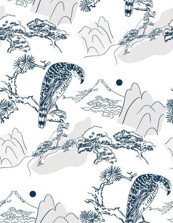 falcon hawk bird mountains view vector sketch illustration line art japanese chinese oriental design seamless Illustration