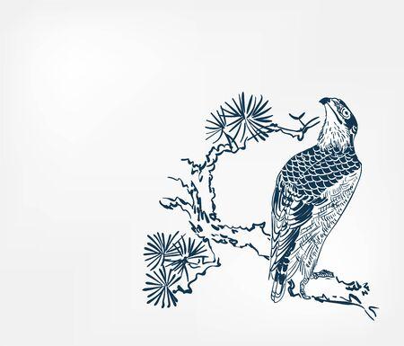 falcon bird pine branch background japanese vector sketch illustration engraved