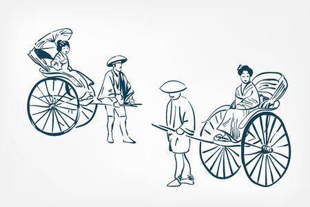 japanese rickshaw traditional sketch vector illustration ink design