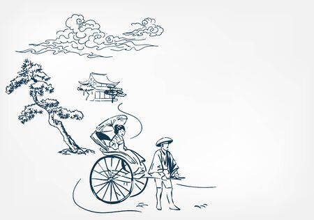 japanese rickshaw card chinese vector sketch design background hand drawn Vetores