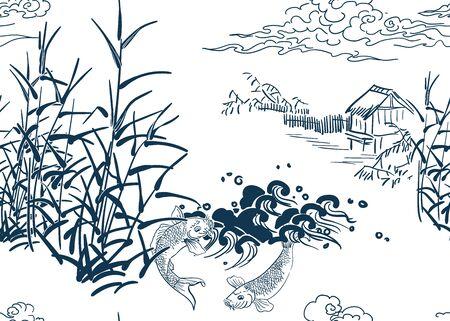 japanese chinese design sketch ink paint style seamless pattern peasant landsape pond hut bulrush koi