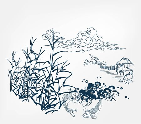 japanese chinese design sketch ink paint style card background village bulrush pond