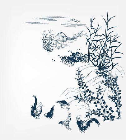 japanese chinese design sketch ink paint style card background village chicken birds bulrush