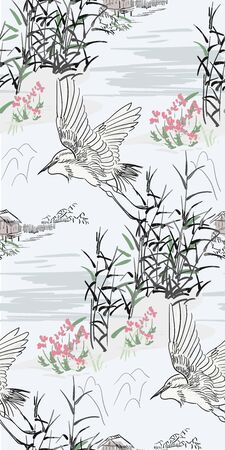 japanese chinese vector design ink flower engraved colorful seamless pattern heron bird bulrush hut pond traditional