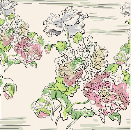 japanese chinese vector design ink flower engraved colorful seamless pattern chrysantemum