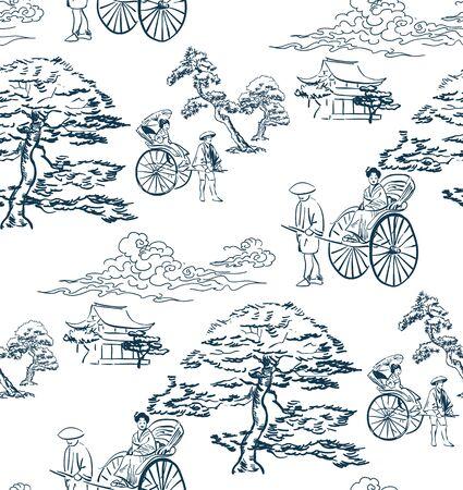 japanese vector sketch design background hand drawn ink seamless