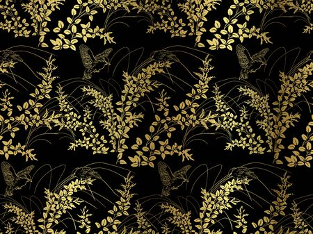 lespedeza plant leaves vector seamless japanese chinese pattern gold black