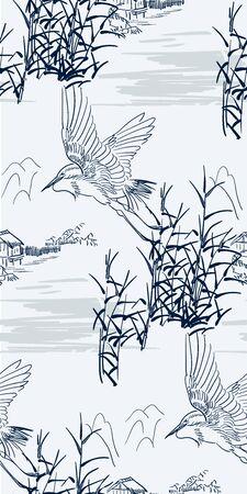 heron bulrush vector seamless japanese chinese pattern gold black Illustration